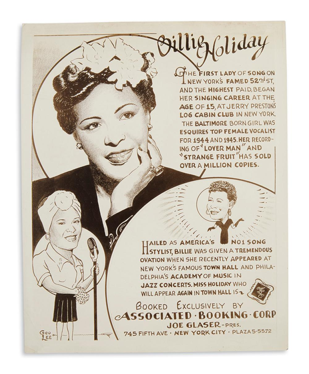 (MUSIC.) Billie Holiday, First Lady of Song on New York's Famed 52nd Street.