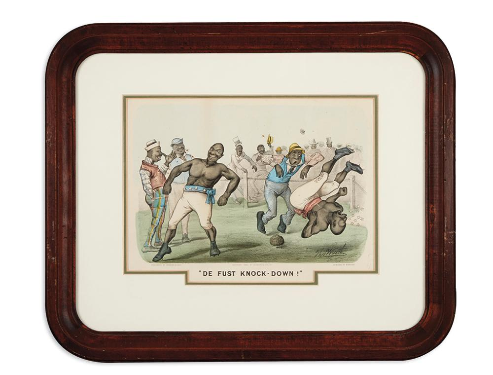 (RACISM.) Group of stereotypical Currier and Ives prints of African-Americans.
