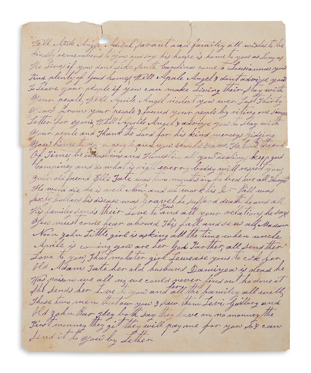 (RECONSTRUCTION.) McDaniel, Daniel. Letter to a freedman, offering to help track down his lost wife and daughter.