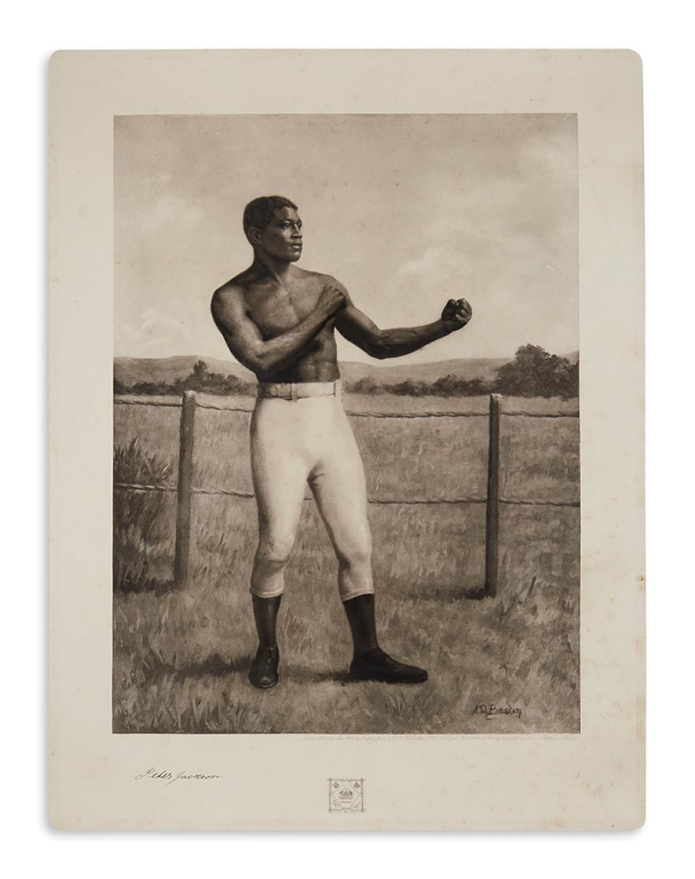 (SPORTS--BOXING.) Gravure portrait of early champion Peter Jackson.