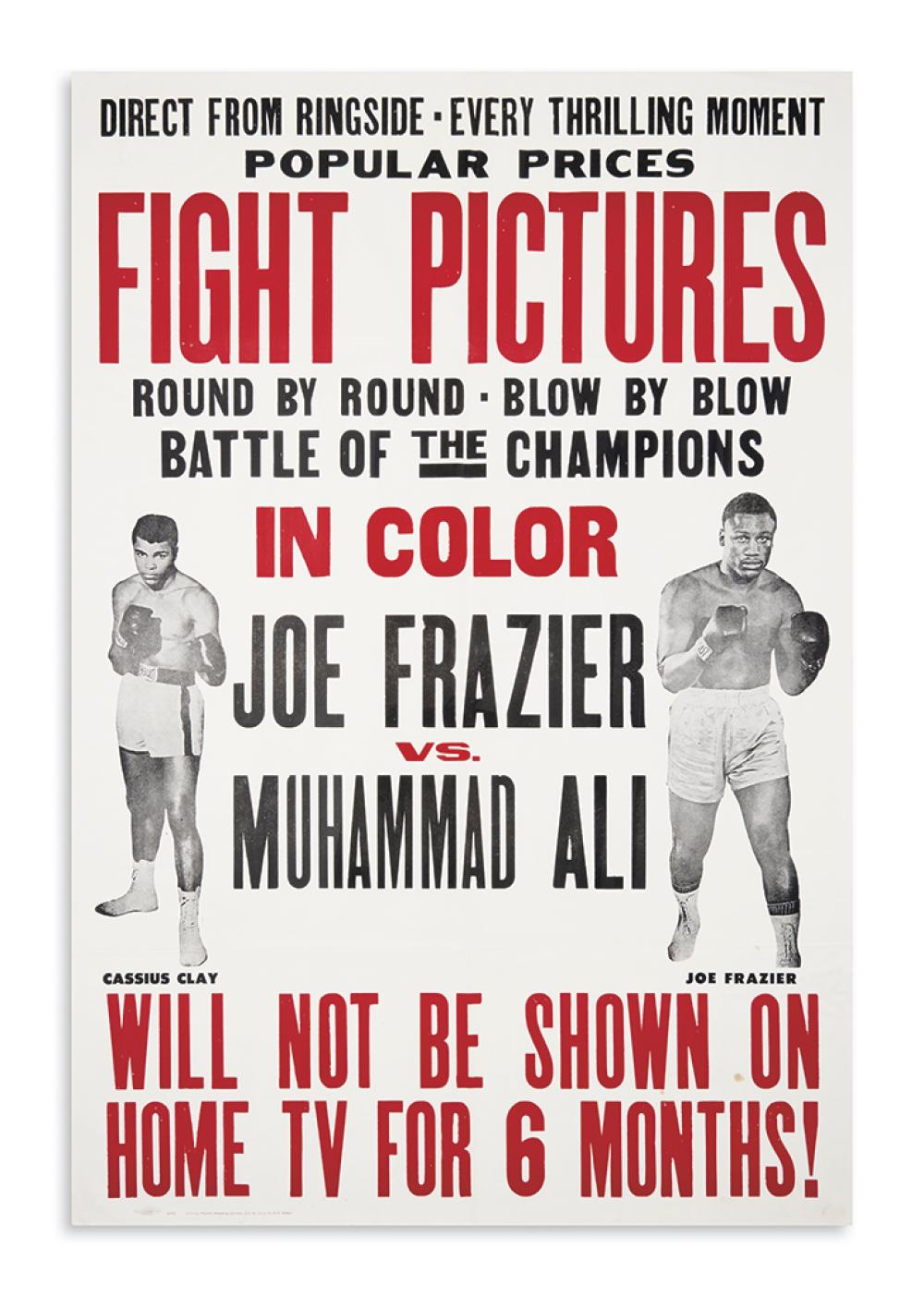 (SPORTS--BOXING.) Direct from Ringside, Every Thrilling Moment . . . Fight Pictures . . . Joe Frazier vs. Muhammad Ali.