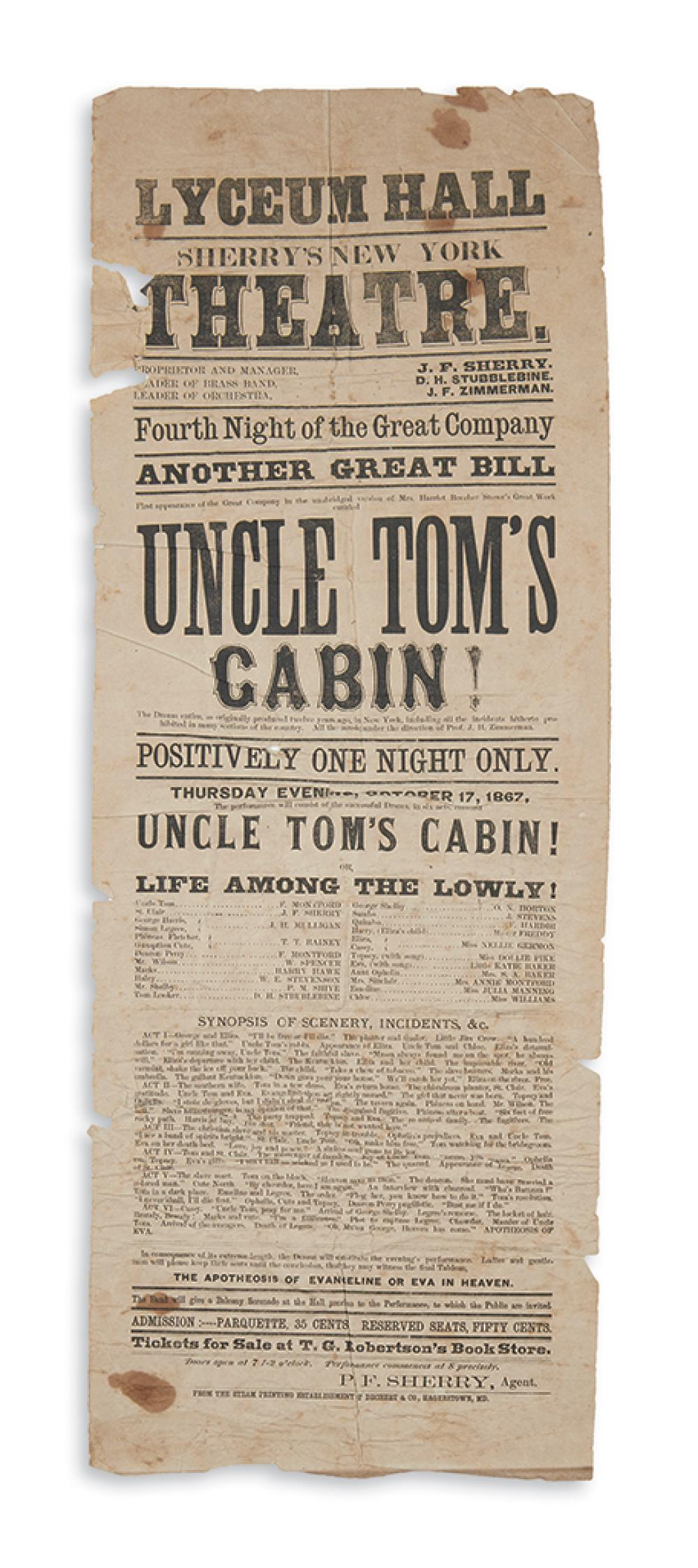 (THEATER.) Broadside playbill for a Maryland performance of Uncle Tom's Cabin by the Sherry's New York Theatre touring company.