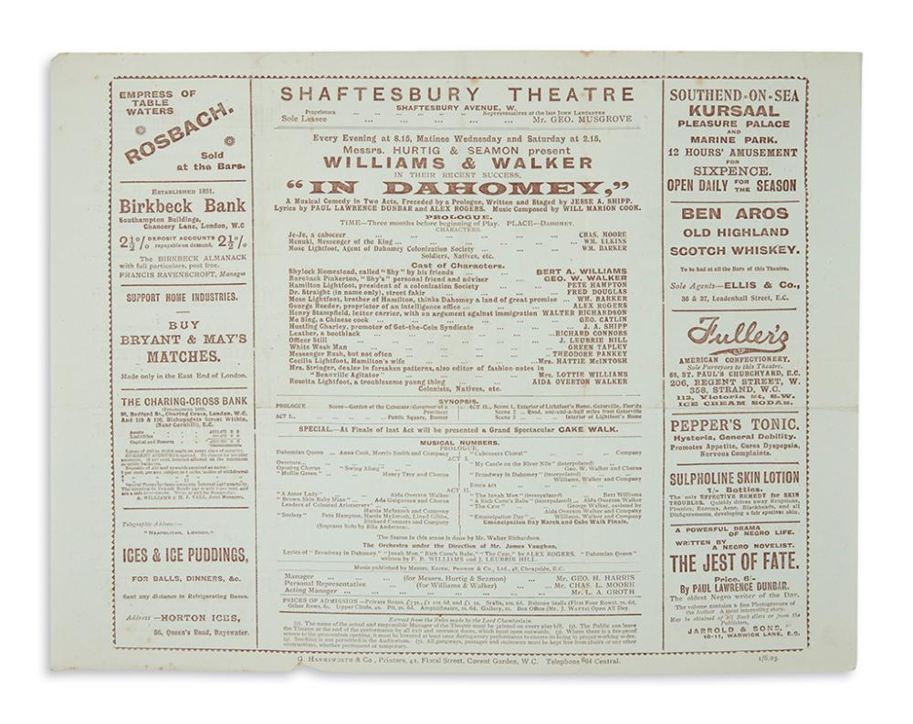 (THEATER.) Program for a London performance by Bert Williams and George Walker of
