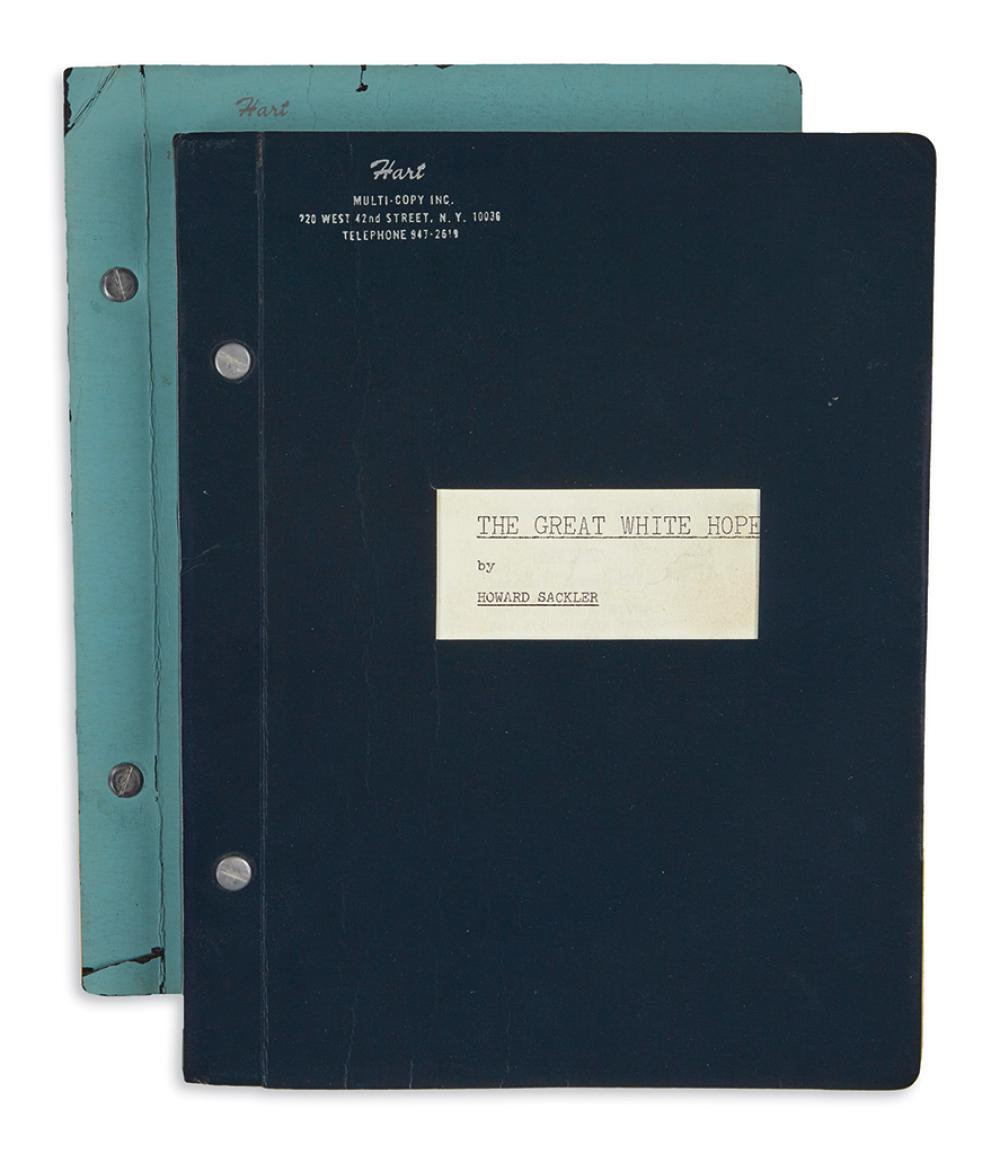 (THEATER.) Sackler, Howard. Pair of working scripts for the Broadway production of The Great White Hope.
