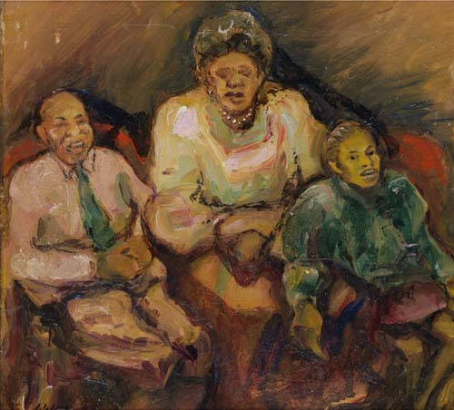 WARING, LAURA WHEELER.  Family [supplied title]. Oil on artist's board, 8x81/4 inches; small chip on surface in upper left quadrant; initialed lower