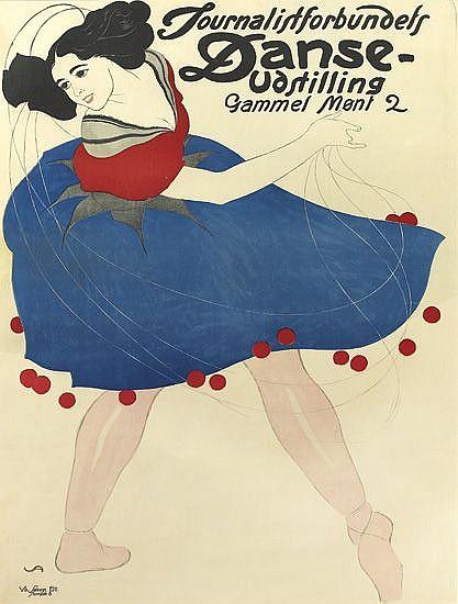 VALDEMAR ANDERSEN (1875-1928). JOURNALISTFORBUNDETS DANSE-UDSTILLING. Circa 1908. 33x24 inches, 84x62 cm.