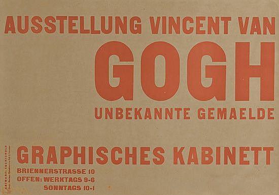 JAN TSCHICHOLD (1902-1974). AUSSTELLUNG VINCENT VAN GOGH / GRAPHISCHES KABINETT. 1928. 23x32 inches, 59x83 cm. Volk & Schreiber, Munich