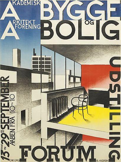 IB ANDERSEN (1907-1969). BYGGE OG BOLIG. 1929. 32x24 inches, 82x62 cm. Chr. Cato, [Copenhagen.]