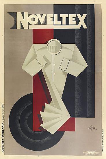 SEPO (SEVERO POZZATI, 1895-1983). NOVELTEX. 1928. 81x54 inches, 207x138 cm. Affiches Dorland, Paris.