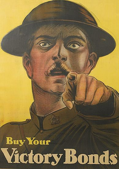 DESIGNER UNKNOWN. BUY YOUR VICTORY BONDS. 1917. 50x35 inches, 128x90 cm.
