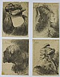 GIOVANNI B. CASTIGLIONE Group of 4 portrait etchings.