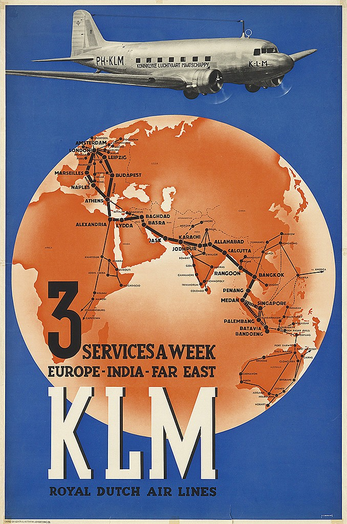 PAUL C. ERKELENS (1912-?). KLM / 3 SERVICES A WEEK. Circa 1938. 38x25 inches, 98x64 cm.