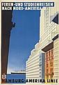 ALBERT FUSS (1889-1969). HAMBURG - AMERIKA LINIE / FERIEN - UND STUDIENREISEN NACH NORD - AMERIKA. Circa 1935. 33x23 inches, 86x59 cm.