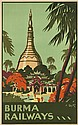 A. BLYTH (DATES UNKNOWN). BURMA RAILWAYS. Circa 1935. 39x25 inches, 100x63 cm. G. Claridge & Co, Ltd., Bombay.