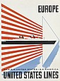 LESTER BEALL (1903-1969). EUROPE / UNITED STATES LINES. Circa 1952. 30x22 inches, 76x56 cm.