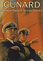 ARTHUR C. MICHAEL (DATES UNKNOWN). CUNARD / BRITAIN'S FASTEST OCEAN SERVICE. Circa 1937. 32x23 inches, 82x60 cm.