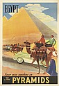 DESIGNER UNKNOWN. EGYPT / NEVER MISS SUNSHINE ON THE PYRAMIDS. 1957. 40x27 inches, 101x69 cm. Institut Graphique Egyptien, Egypt.