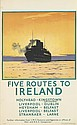 NORMAN WILKINSON (1882-1971). FIVE ROUTES TO IRELAND. Circa 1925. 40x25 inches, 100x63 cm. Staffords, Netherfield.