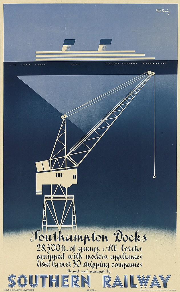 PATRICK COKAYNE KEELY (?-1970). SOUTHAMPTON DOCKS / SOUTHERN RAILWAY. 1947. 39x25 inches, 101x63 cm. McCorquodale, London.