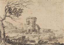 GIOVANNI FRANCESCO GRIMALDI (Bologna 1606-1680 Rome) A Landscape with a Tower.