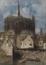 LOUIS-ADOLPHE HERVIER (Paris 1818-1879 Paris) Notre Dame and the Île de la Cité, Paris.