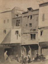 LOUIS-ADOLPHE HERVIER (Paris 1818-1879 Paris) A City Scene with Women and Children.