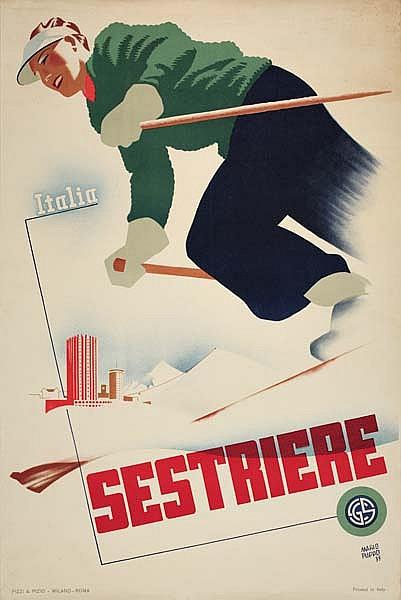 MARIO PUPPO (1905- ) SESTRIERE. 1935. 37x24 inches. Pizzi & Pizio, Rome.