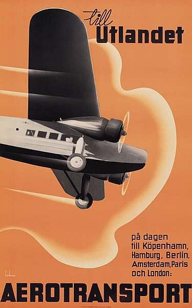 ANDERS BECKMAN (1907-1967) TILL UTLANDET / AEROTRANSPORT. 1930. 39x24 inches. J. Olsens Lithografsika Anstalt, Stockholm.