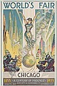 GLEN C. SHEFFER (1881-1948) WORLD'S FAIR / CHICAGO. 1933. 41x28 inches. Goes Litho Co., Glenn C Sheffer, Click for value