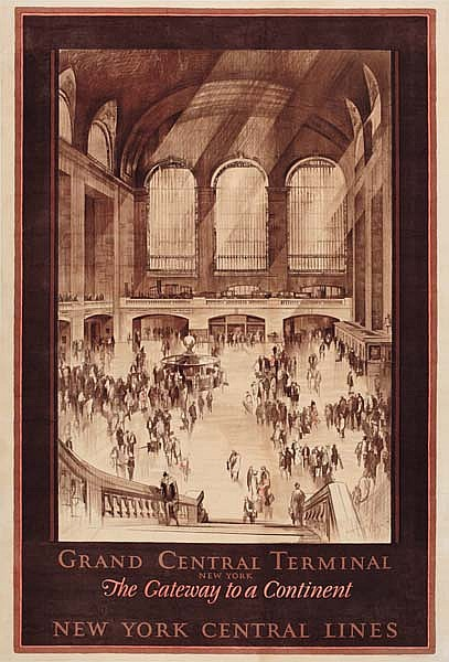 EARL HORTER (1883-1940) GRAND CENTRAL TERMINAL / NEW YORK CENTRAL LINES. 1927. 39x25 inches. Latham Liho. & Printing Co., Long Island C