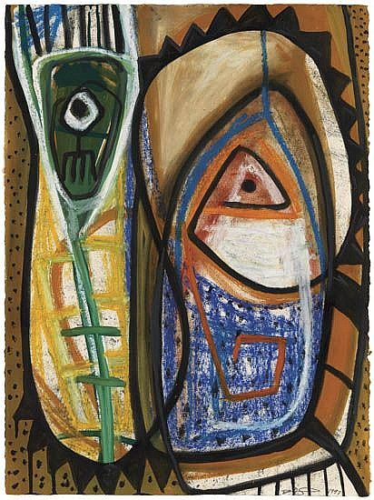 DANNY SIMMONS (1954 -   ) Untitled (Abstract Composition).