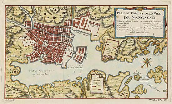 BELLIN, JACQUES NICOLAS. Plan du Port et de la Ville de Nangasaki.
