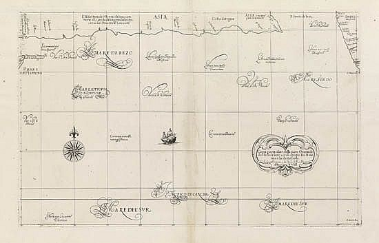 DUDLEY, ROBERT. Carta particolare della parte Orientale del'Isola di Iezo con li stretto fra America è la detta Isola.