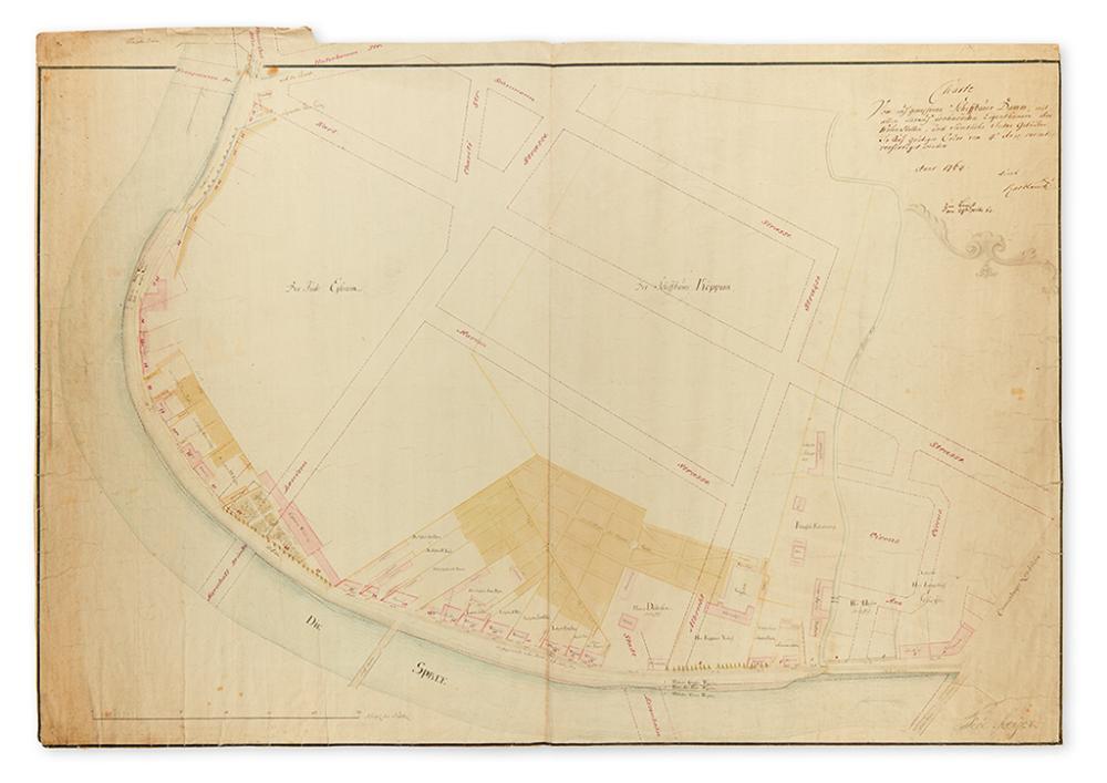 (BERLIN.) Knoblauch. Charte vom auf gemessenen Schiffbauer Damm, mit allen darauf wohnenden Eigenthumern ihre Wohn Stellen,