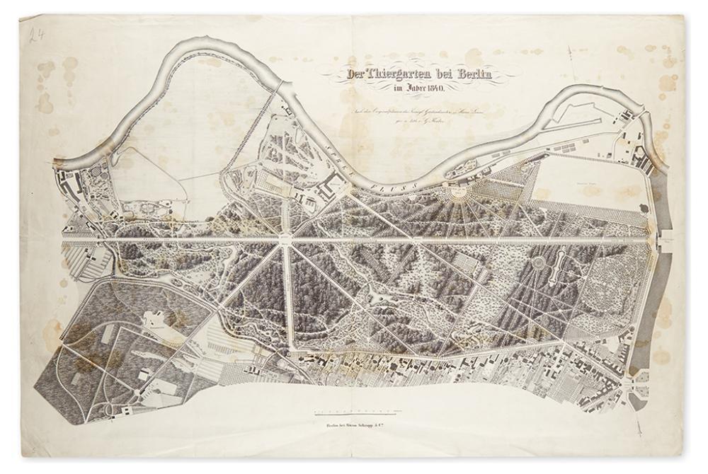(BERLIN.) Lenné, Peter Joseph. Der Thiergarten bei Berlin in Jahre 1840.