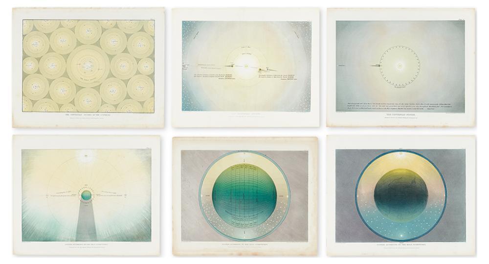 (CELESTIALS - MUGGLETONIAN.) Frost, Isaac. Series of 6 plates representing the geocentric Muggletonian astronomical theory.