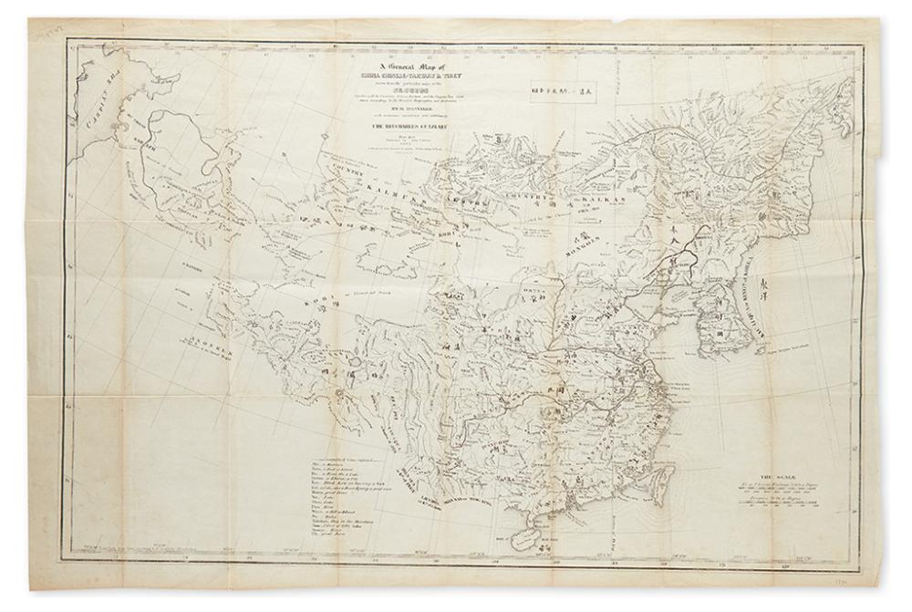 (CHINA.) Gutzlaff, Charles. A General Map of China Chinese-Tartary & Tibet drawn from the Particular Maps of the Jesuits.