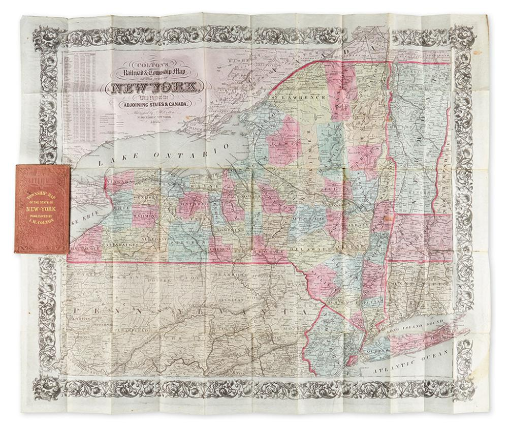 COLTON, GEORGE W. Colton''s Railroad & Township Map of the State of New York, with Parts of the Adjoining States and Canada.