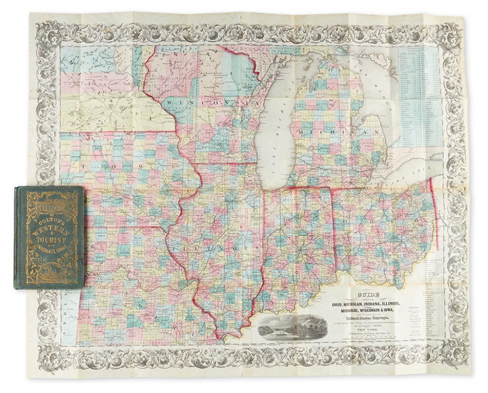 COLTON, JOSEPH HUTCHINS. The Western Tourist and Emigrant''s Guide through the States of Ohio, Michigan, Indiana, Illinois, Missouri,