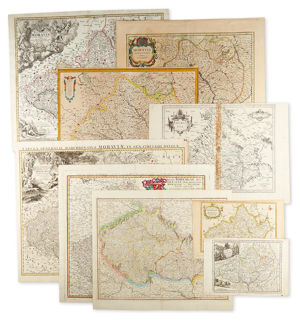 (CZECH REPUBLIC.) Group of 10 engraved maps of Moravia.