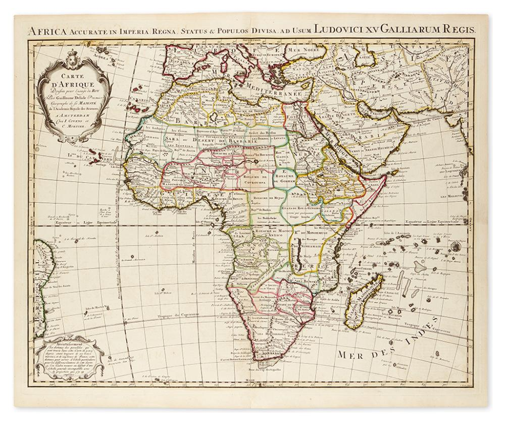 DE L''ISLE, GUILLAUME; and COVENS & MORTIER. Carte d''Afrique Dressée pour l''usage du Roy.