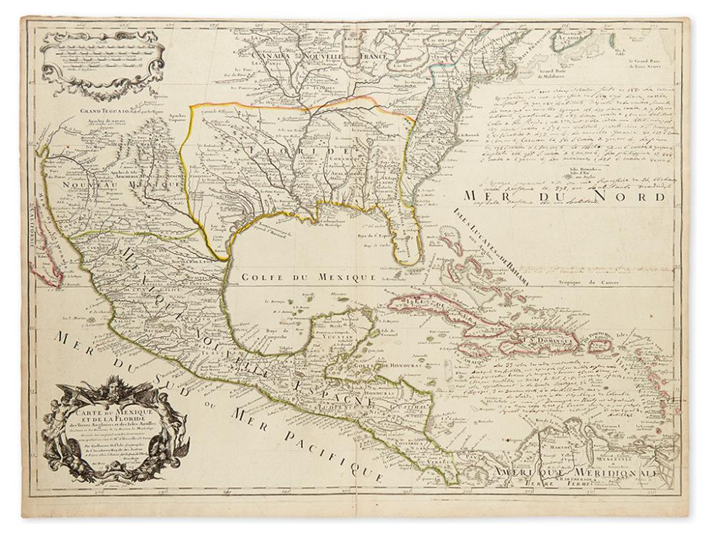 DE L''ISLE, GUILLAUME. Carte du Mexique et de la Floride des Terres Angloises et des Isles Antilles.