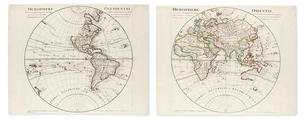 DE L''ISLE, GUILLAUME. Hemisphere Occidental * Hemisphere Oriental.