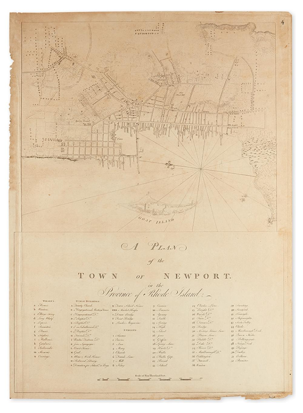 DES BARRES, JOSEPH FREDERICK WALLET. A Plan of the Town of Newport in the Province of Rhode Island.