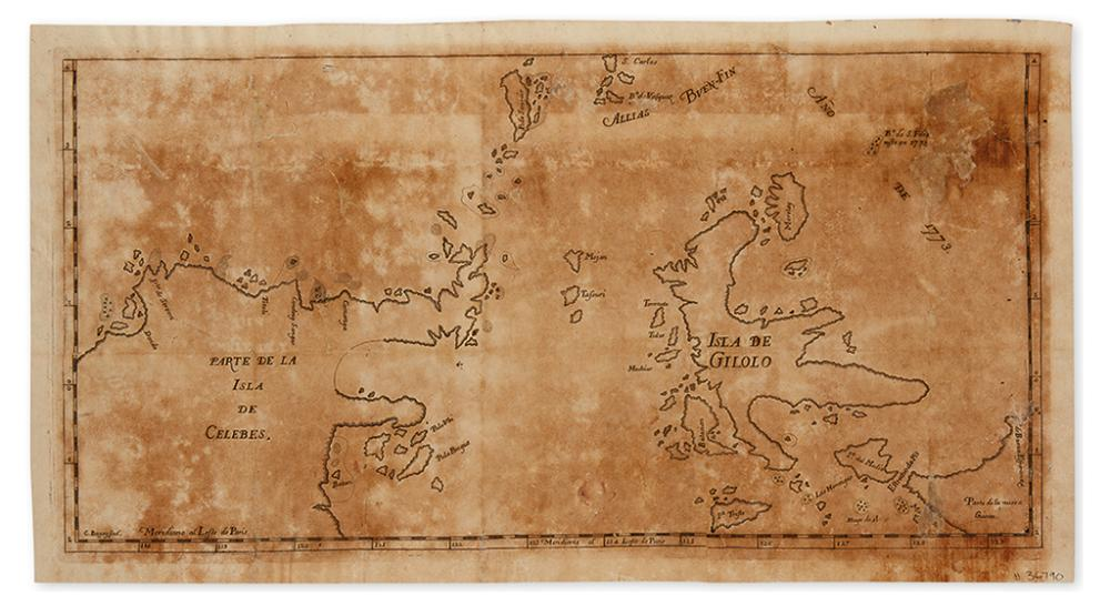 BAGAY, CIPRIANO. [Untitled map of the Spice Islands.]