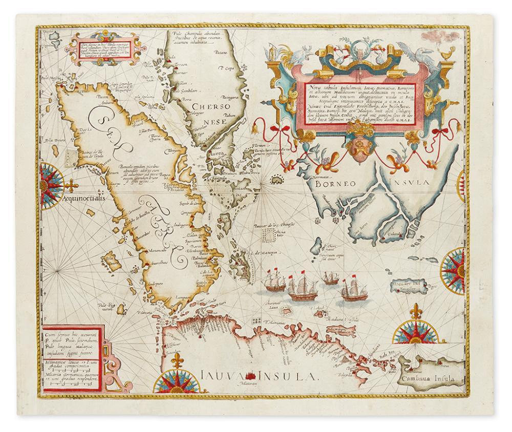 DE BRY, THEODORE. Nova tabula Insularum Javae, Sumatrae, Borneonis et aliarum Mallaccam usquae delineata in insula Java...