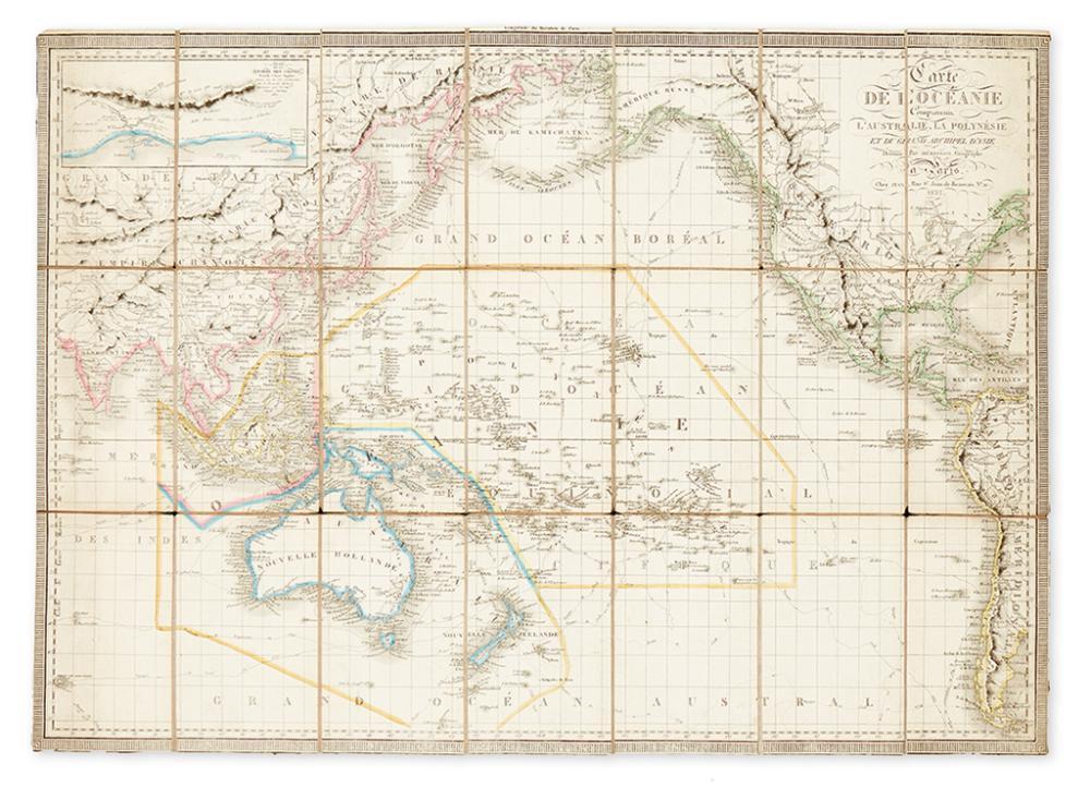 HERISSON, EUSTACHE. Carte de l''Oceanie Comprenam l''Australie, la Polynesie et du Grand Archipel d''Asie.