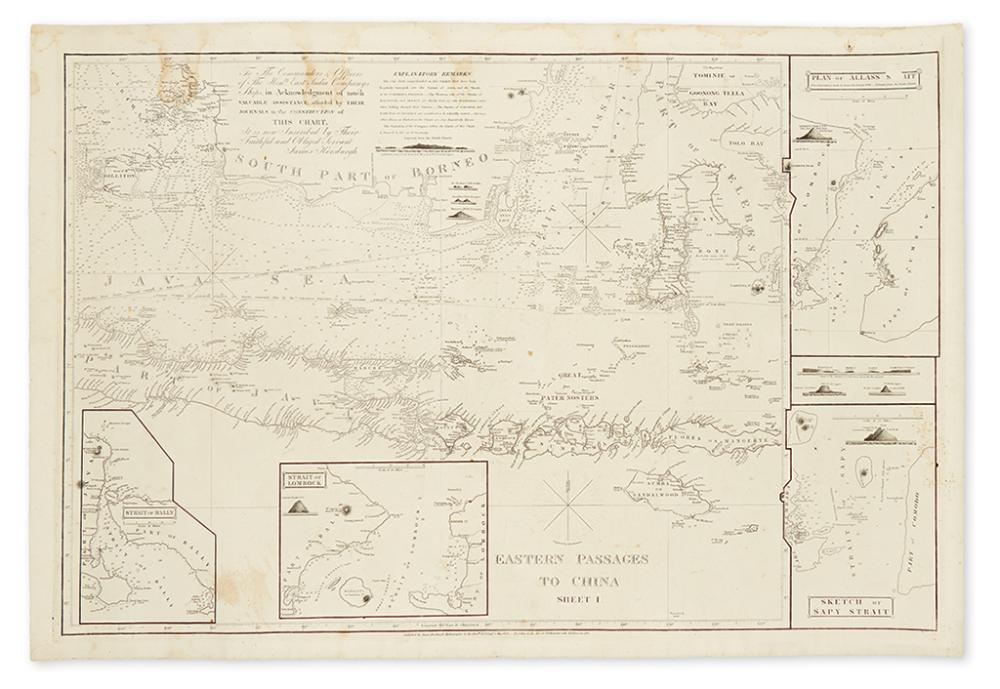 HORSBURGH, JAMES. Eastern Passages to China. Sheet I.