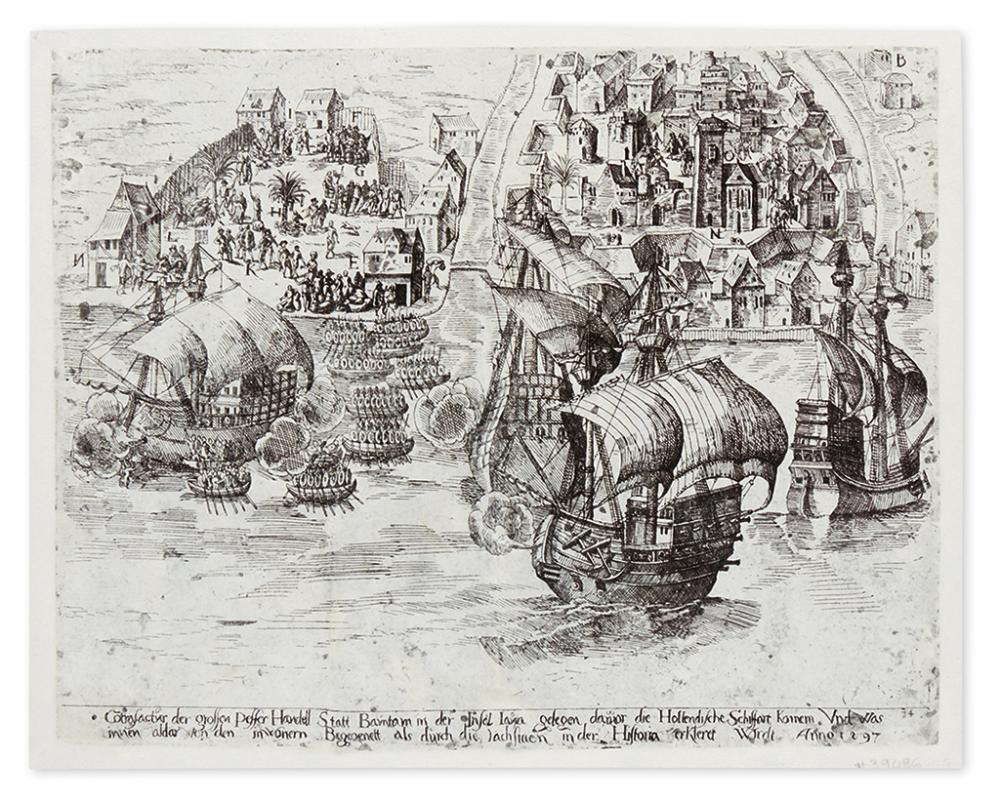 [KELLER, GEORG.] Cotrafactur der grossen Peffer Handell Statt Bamtam in der Insel Iava gelegen,