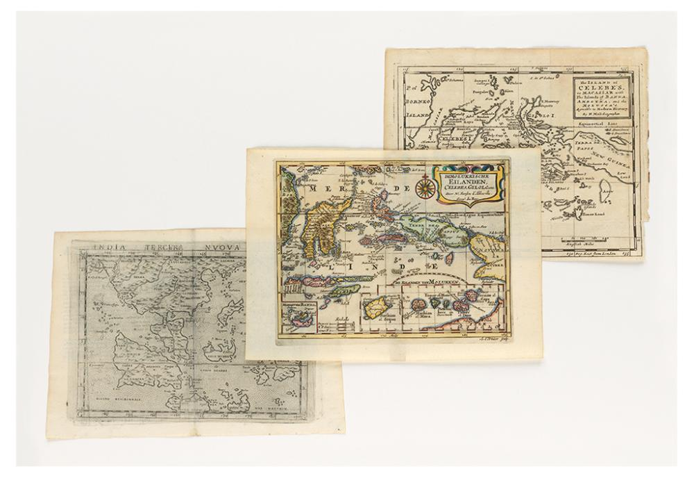 (SPICE ISLANDS) Group of three small-format engraved maps relating to the Spice Islands.